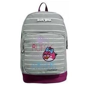 Mochila Costas Meninas Notebook Angry Birds Cinza Jovem