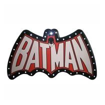 Placa Mdf Led Dco Batman Preta/vermelha Pilha - Urban