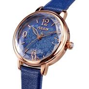 Reloj Julius Ja-929 Mujer Dama Malla Cuero