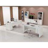 Jogo Escritório Home Office 08 Peças Branco - Tecno Mobili