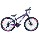 Bicicleta Vikingx Freeride Aro 26 Freio Disco Bike Pto/rosa