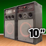 Par De Bafle Potenciado Usb-sd-mic 10´´ Mp3 Karaoke 600w