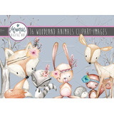 Kit Imprimible Woodland Animals Clipart Watercolor