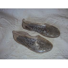 Sapato Rendado Transparente Com Glitter Tamanho 34 / 35 S0