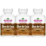 Oleo De Coco 120 Capsulas De 1000mg Combo 3 Frascos!