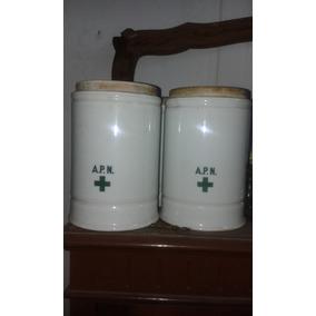 Antiguos Frascos De Farmacia En Porcelana
