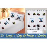 Kit Cortina + Lençol + Fronha Infantil Thomas E Seus Amigos