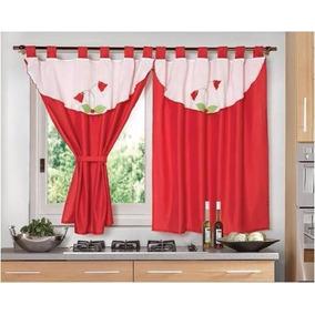 cortina cocina linea tulipan bordada rojo mts fg - Cortinas Rojas