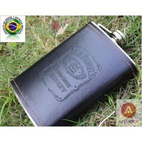 Cantil Porta Whisky Jack Daniels Aço Inox Com Couro Pu 266ml