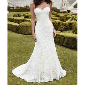 Vestido Noiva Sereia Renda Italiana Cauda Tomara Caia Longo