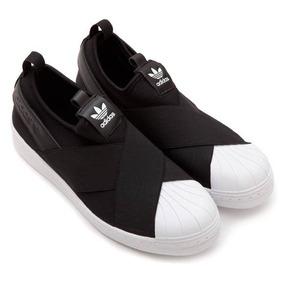 Tênis adidas Slip On Elastico Preto Branco Unissex