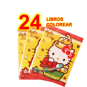 24 Libro Hello Kitty Colorea Economico Juguete Piñata Cumple