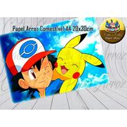 Papel De Arroz Comestível Pikachu Pokémon + Vela Tema