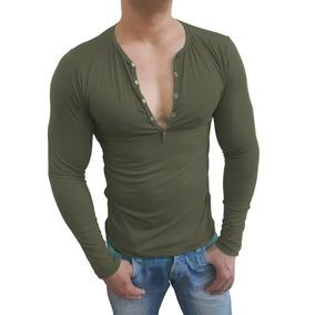 Camisa Henley Masculina Slim Botão Manga Longa Casual
