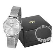 Relógio Mondaine Feminino Prata 76733l0mvne1 Kit Semi-joias
