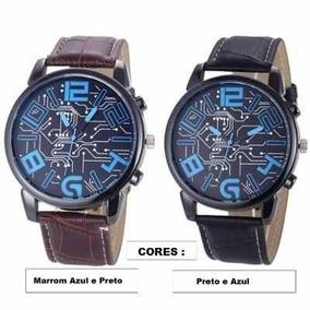 Relógio Unissex, Pulseira De Couro, Azul/marrom Frete Grátis
