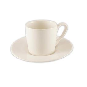 Jogo De 6 Xícaras 6 Pires Café Cafézinho Porcelana Branco