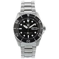 Seiko 5 Negro Dial Acero Inoxidable Reloj Autom Envío Gratis