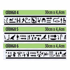 10 Faixas Adesivas Egípcias Hieroglifos Rodapé Rodateto Stic