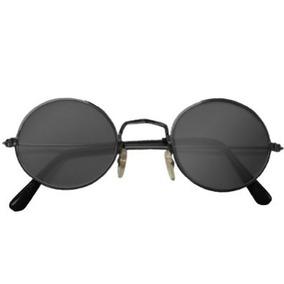 Marco Negro Retro John Lennon Gafas De Sol W / Case Gratui