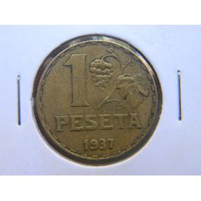 |hds| Moneda España 1 Peseta 1937 Segunda República Km 755
