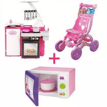 Cozinha Classic + Microondas + Carrinho De Boneca Princesas