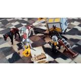 2 Play Mobils Guerreros Con Un Carro Y Dos Caballos,un Cañon