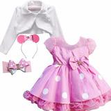 Vestido Infantil Minnie Rosa Modelo Novo E 2 Tiara E Bolero