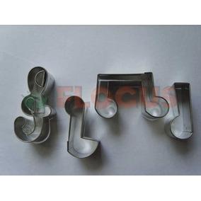 Cortante Molde Set Notas Musicales X 4 Flogus Porcelana Masa
