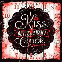 Relógio Vintage King Mdf 27x27 Kiss Cook Cloqbc.0247
