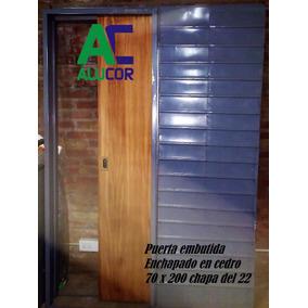 Puerta Corrediza Cedro De Embutir 70x200