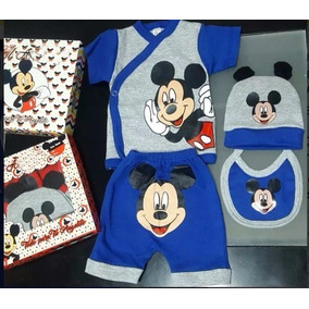 Set Ajuar Bebe 4p Minnie Mickey Caj Regalo Y Tb Ropa Gap Pol