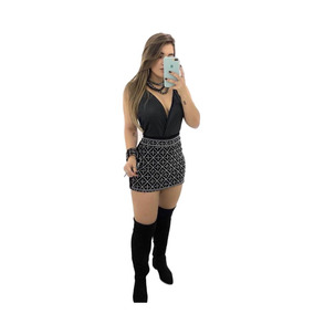 Conjunto Feminino Saia De Neoprene Com Strass E Body Regata