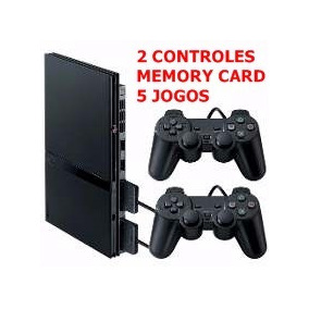 Playstation 2 Slim Completo +2 Controles+5 Jogos+memory Card
