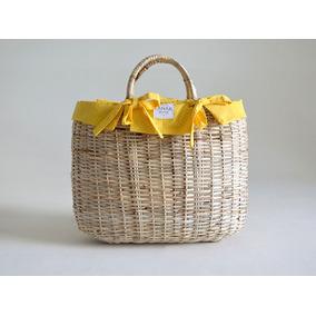 Bolsa Cesta / Pequena / Amarela Bolinhas Brancas