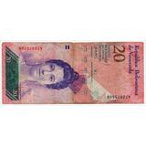 Billete De 20 Bolívares Con Detalle De Impresión