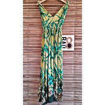 001 - Vestido Verde Longo Leve Primavera-verão