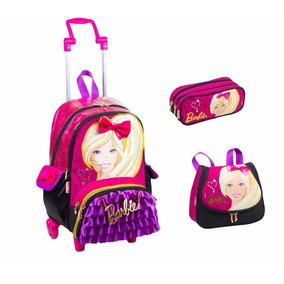 Kit Mochila Tam G Barbie Rodinhas 16z Sestini Rosa Bolsinha