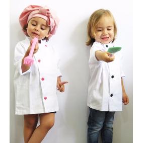 Dólmã Chef Infantil Menino E Menina Botão Preto Ou Rosa