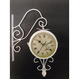 Reloj Metal Colgante Blanco -doble Maquina-23x23 -diam 12cm