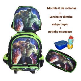 Mochila Infantil Rodinhas Hulk Vingadores + Lancheira Estojo