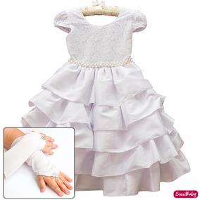 Vestido Infantil Daminha Batizado Formatura Com Luvas 4/16
