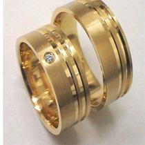 Par Alianças 10mm Com Pedra Moeda Antiga Casamento Noivado