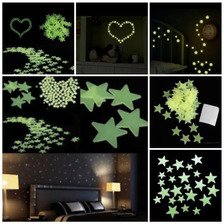 Paquete De 100 Estrellas Fluorescentes Fosforecentes