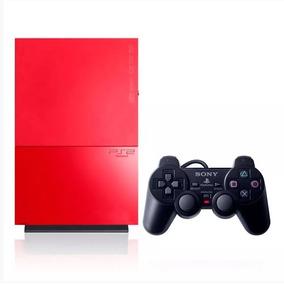 Console Playstation 2 (j) Slim Vermelho 1 Controle (leia)