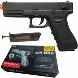 Pistola Pressão Airsoft Eletrica Glock Half Metal Original