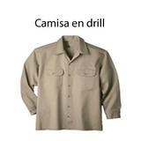 Camisa Drill Kaki Y Azul Manga Larga Uniformes De Trabajo