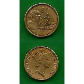 Grr-moneda De Australia 2 Dollars 1993 - Aborígen Y Reina