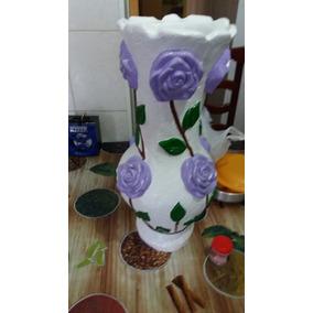 Vaso De Gesso Grande Pintado Invernizado Resistente A Agua
