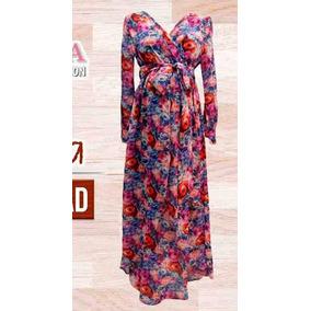 Vestido De Maternidad Largo Estampado Floral.